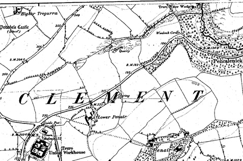 Truro Water Works is in the top right corner of this extract from the 1907 OS map